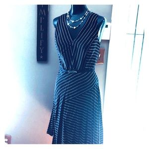 Navy blue pin striped dress